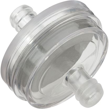 """Picture of Fuel Filter - Disk-Shaped with Stainless Steel Mesh Screen - 5/16"""" (8 mm) ID"""